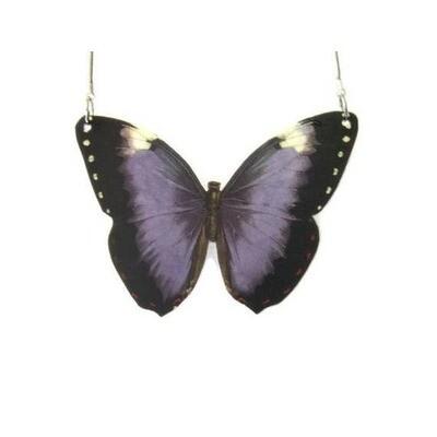 Purple Butterfly Pendant Necklace Large
