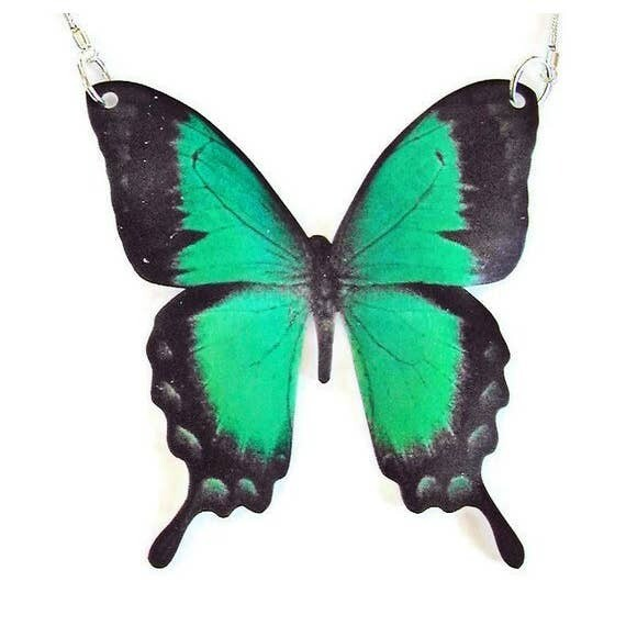 Large Green Swallowtail Butterfly Pendant Necklace