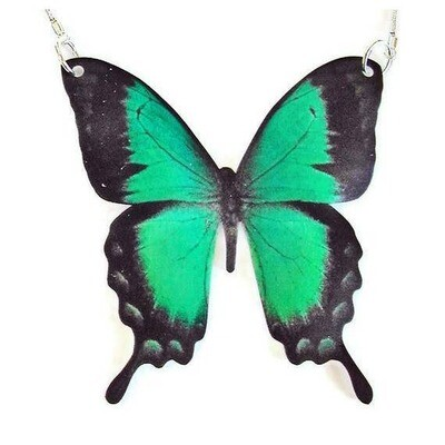 Green Swallowtail Butterfly Pendant Necklace Large