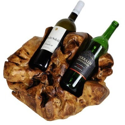 Hand Carved Wooden Wine Holder 2 Bottle
