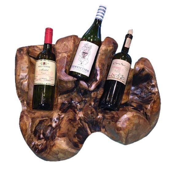 Hand Carved Wooden Wine Holder 3 Bottle
