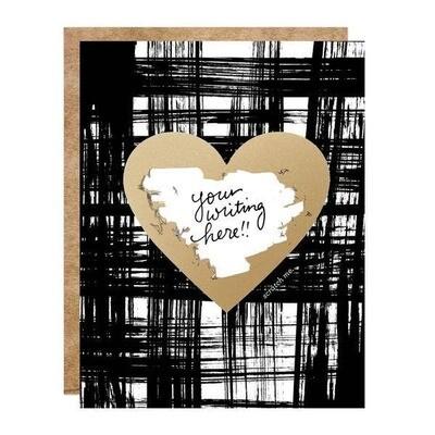 Brushy Gold Heart Scratch-off Card