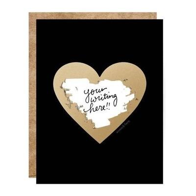 Black & Gold Heart Scratch-off Card