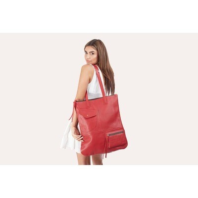 Genuine Leather Fold & Hold Tote Bag Red