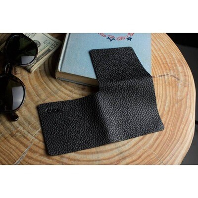 Black L Shape Minimal Leather Wallet