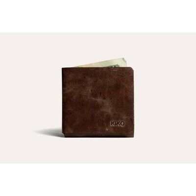 Brown L Shape Minimal Leather Wallet