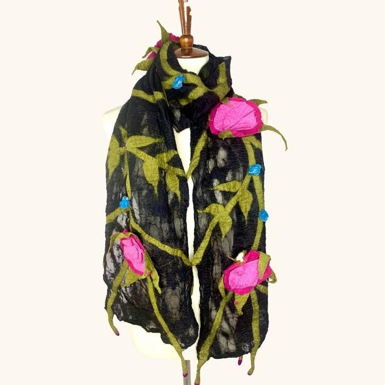 Merino Wool Handmade Rose Vine Scarf