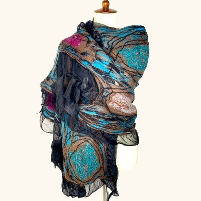 Merino Wool & Silk Handmade Gypsy Wrap Black Scarf