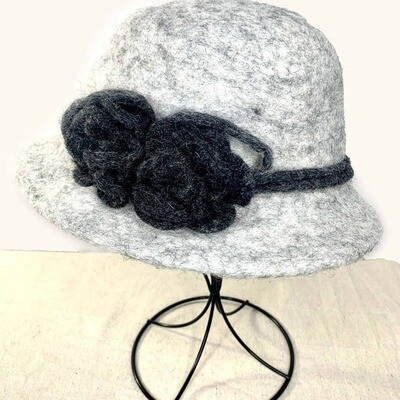 Light Gray Hat  with Charcoal Flower