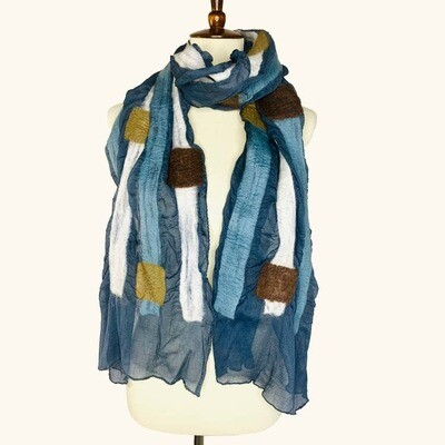 Merino Wool & Silk Handmade Squares & Stripes Scarf
