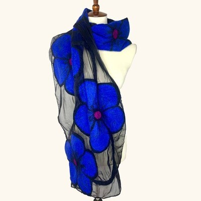 Merino Wool & Silk Handmade Midnight Flower Scarf
