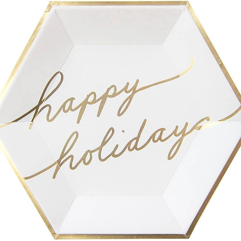 White & Gold Happy Holidays Large Paper Plates