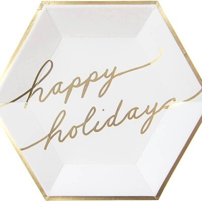 Blanc  - White & Gold Happy Holidays Large Paper Plates
