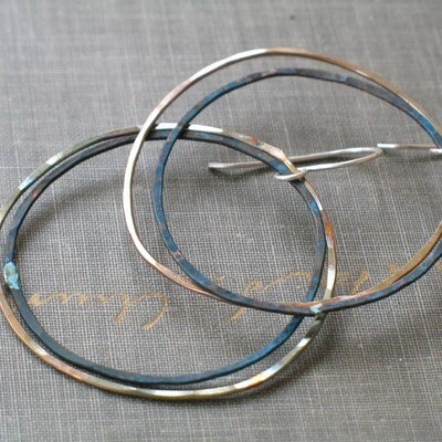 Two Tone Patina Hoops Blue