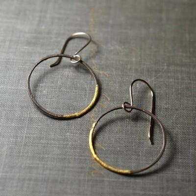Medium Steel and Gold Hoops