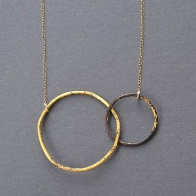 Interlocking Circles Necklace Steel & Gold