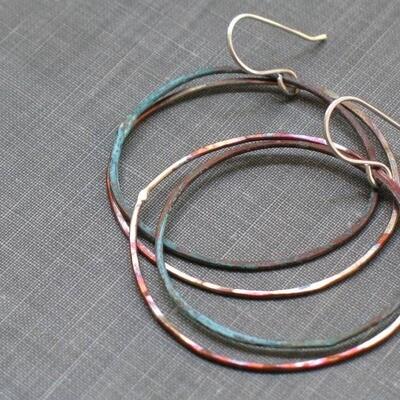 Two Tone Patina Hoops Aqua