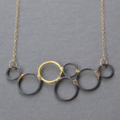 Steel & Gold Bubble Necklace