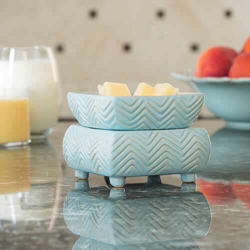 Ceramic Warmer & Dish Chevron