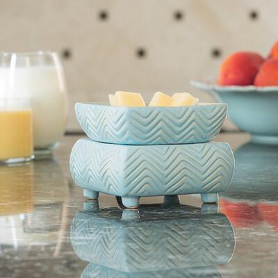Ceramic Warmer & Dish Chevron