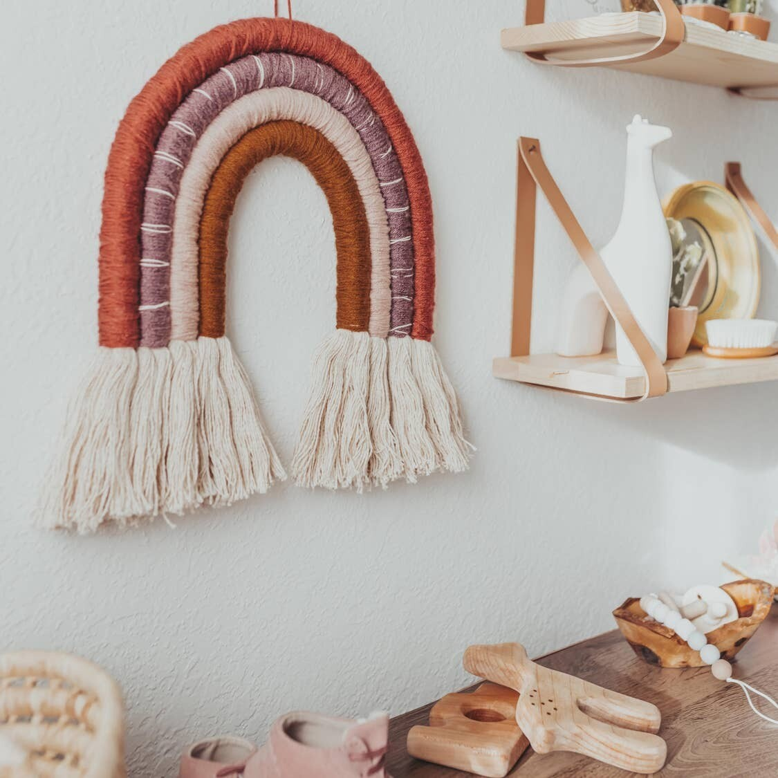 Handmade Rust Rainbow Wall Hanging