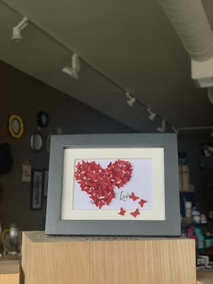 Red Butterfly Valentines Black Frame