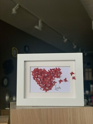 Red Butterfly Valentines White Frame