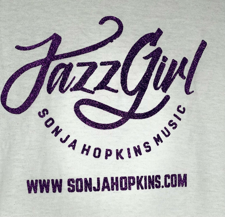 JazzGirl White Tee w/Purple Bling