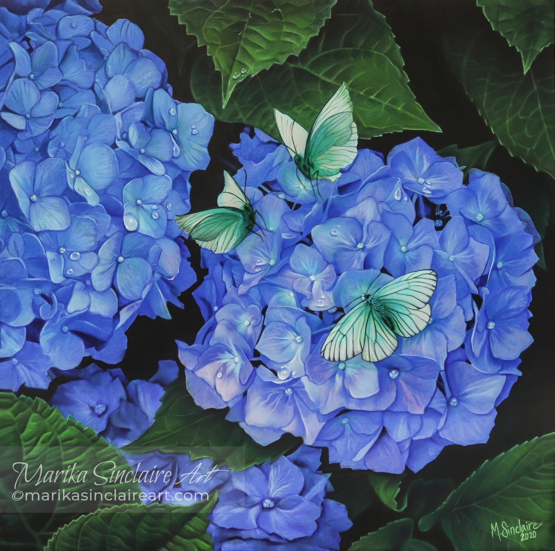 """Hydrangeas with butterflies"" Original painting"