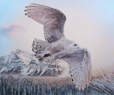 """Flying Snowy Owl"" Original painting"
