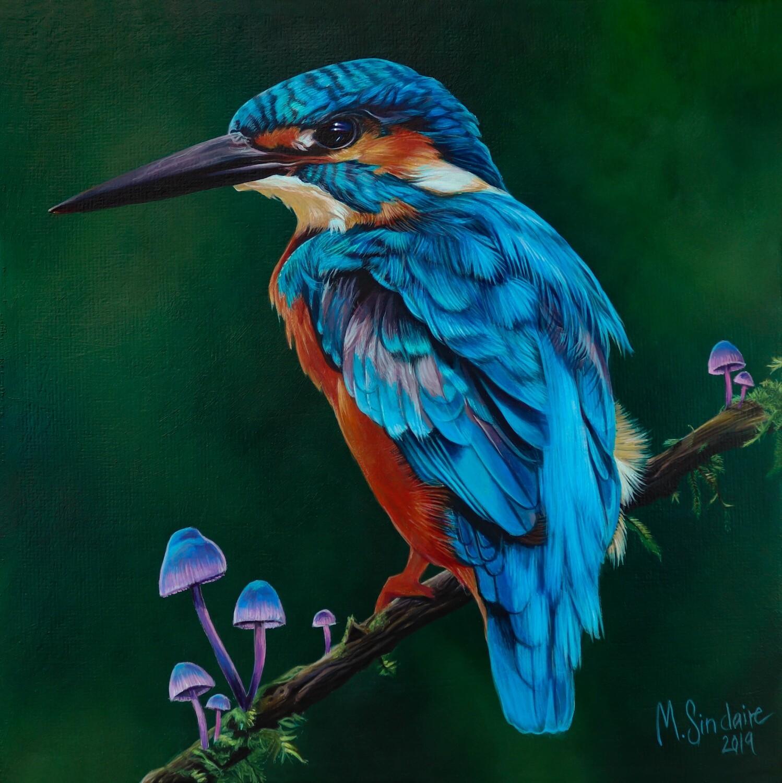 """Kingfisher with mushrooms"" Original painting"