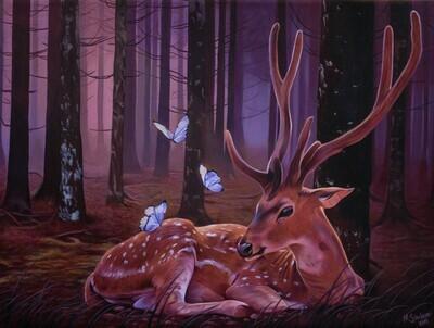 """Deer with butterflies in purple forest"" Original painting"