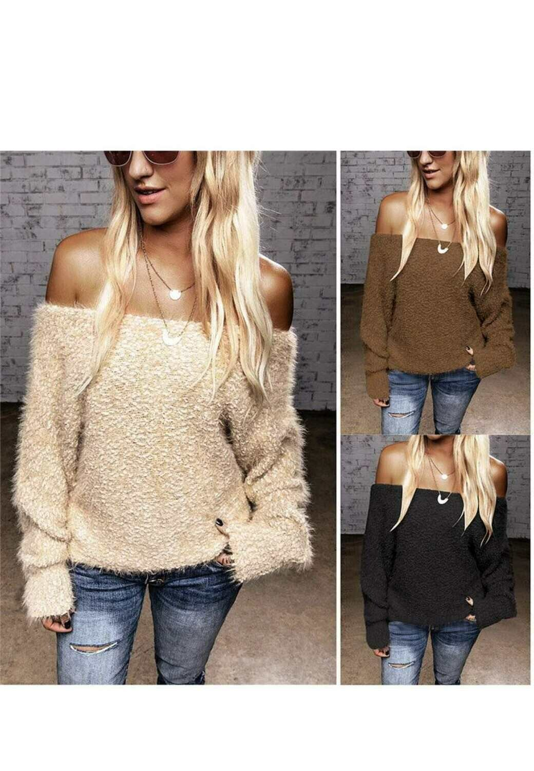 Off Shoulders Fuzzy Sweater
