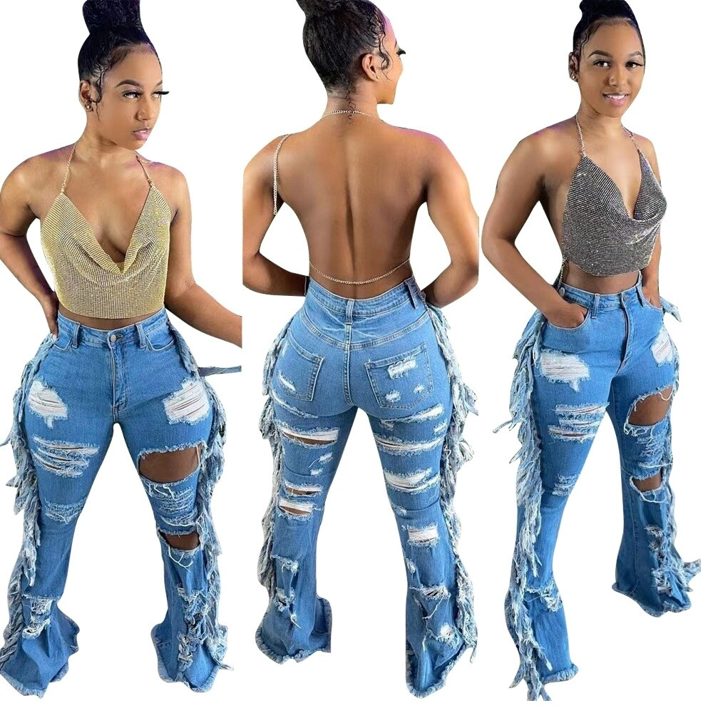 Distress Fringe Side Blue Jeans