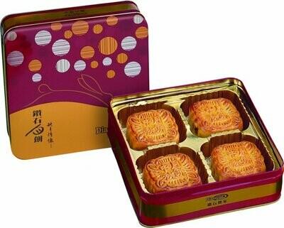 Premium Lotus Seed Paste with 2 Egg Yolks Mooncake (4 pcs) | 雙黃白蓮蓉月(四件)