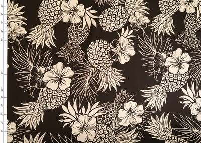 Black Pineapple Cotton Fabric