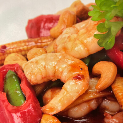 Stir Fried King Prawns with Cashewnuts in Yellow Bean & Hoi Sin Sauce (Slightly Hot)