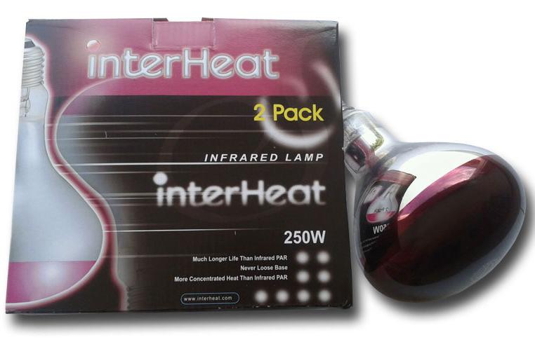 Interheat Poultry Heat Lamp 2 pack 250W