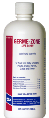 GERME ZONE 500ml Poultry Supply antiseptic application for CUTS, SCRATCHES, ABRASIONS, WOUNDS & BURNS