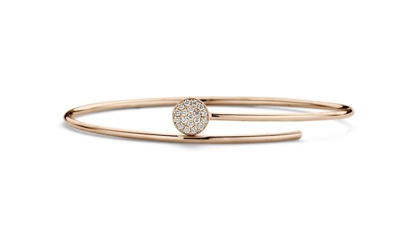Bracelet or rose et diamants