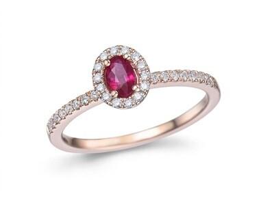 Bague or rose 18 carats + rubis + diamants