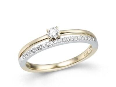 Bague or 18 carats bicolore + diamants