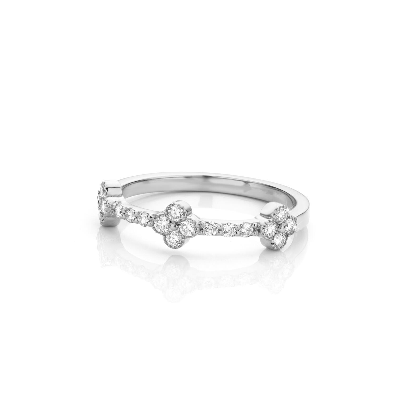 Bague or blanc 18 carats + diamants