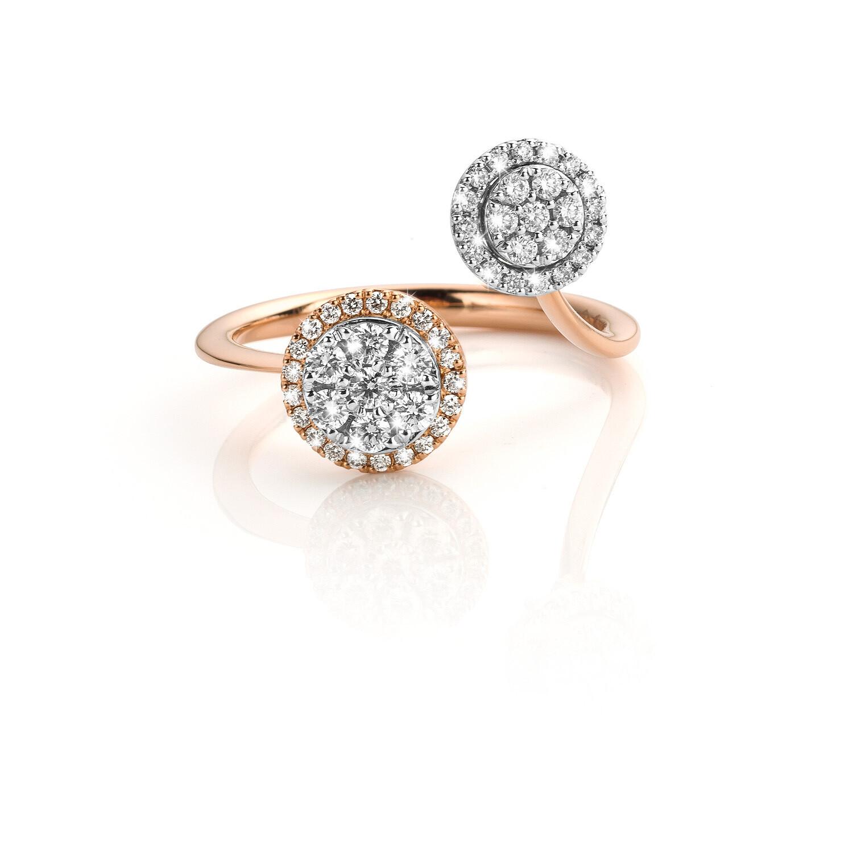 Bague or rose 18 carats + diamants