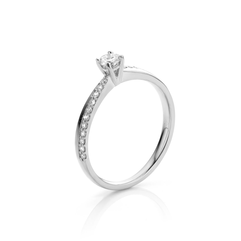 Bague or blanc 18 carats et diamants