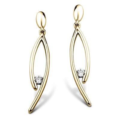 Boucles d'oreilles or 18 carats + diamants