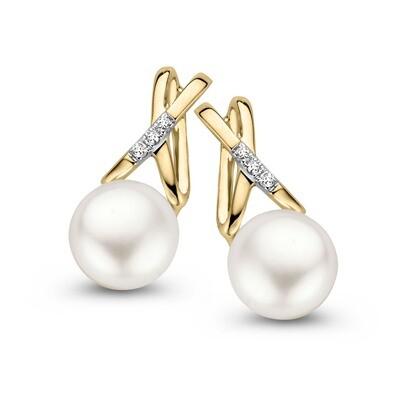 Boucles d'oreilles or 18 carats + diamants + perles
