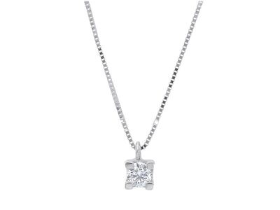 Collier or blanc 18 carats + diamant