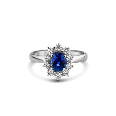 Bague or 18 carats + saphir + diamants