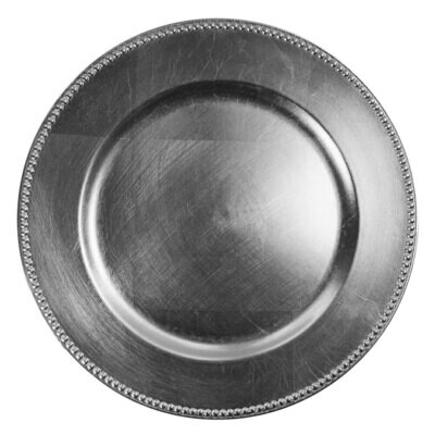 Silver Beaded Melamine Charger